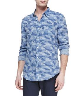Vince Camo-Print Linen Shirt, Navy
