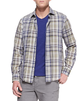 Vince Woven Plaid Sport Shirt, Blue/Gray