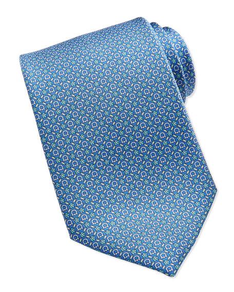 Salvatore Ferragamo Gancini Floral-Print Silk Tie, Light Blue