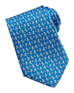 Salvatore Ferragamo Teddy Bear/Soccer Ball Pattern Silk Tie, Teal