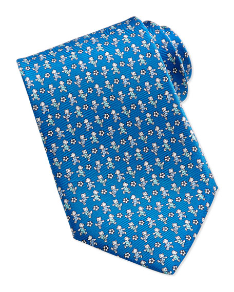 Salvatore Ferragamo Teddy Bear/Soccer Ball Pattern Silk Tie,