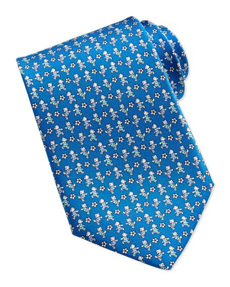 Salvatore Ferragamo Teddy Bear/Soccer Ball Pattern Silk Tie,