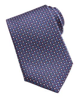 Salvatore Ferragamo Gancini Floral-Print Silk Tie, Navy/Red