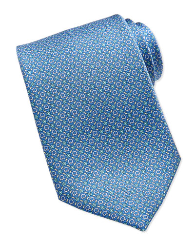 Salvatore Ferragamo Gancini Floral-Print Silk Tie, Light Blue