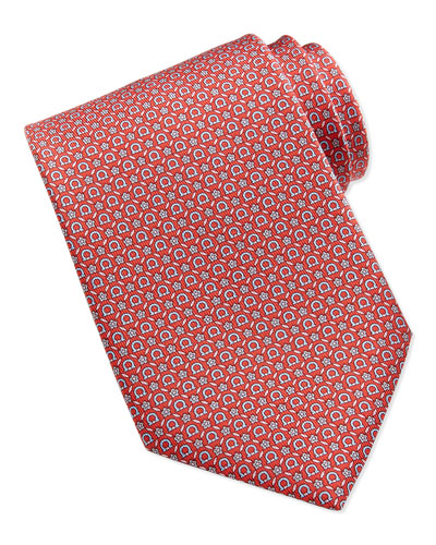 Salvatore Ferragamo Gancini Floral-Print Silk Tie, Red