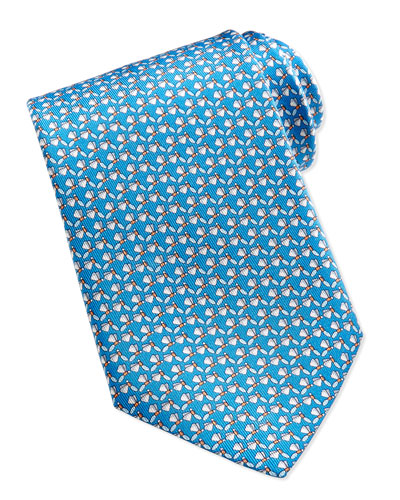 Salvatore Ferragamo Dragonfly-Pattern Silk Tie, Teal