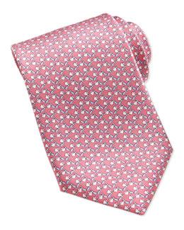 Salvatore Ferragamo Dragonfly-Pattern Silk Tie, Pink