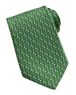 Salvatore Ferragamo Gancini Golf Pattern Silk Tie, Green