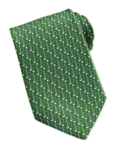 Salvatore Ferragamo Gancini Golf Pattern Silk Tie, Green