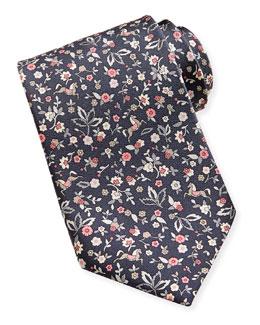 Salvatore Ferragamo Ramage Horse & Flower Tie, Gray