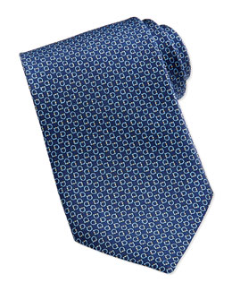 Salvatore Ferragamo Gancini Pattern Silk Tie, Navy/Yellow