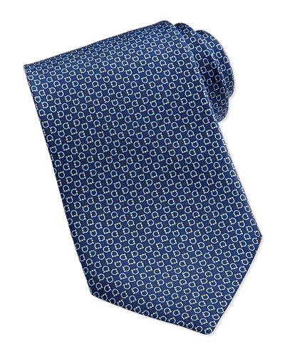 Salvatore Ferragamo Gancini Pattern Silk Tie, Navy/Yellow