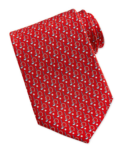 Salvatore Ferragamo Gancini/Golf Pattern Silk Tie, Red