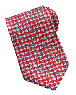 Salvatore Ferragamo Elephant/Bird Pattern Silk Tie, Red