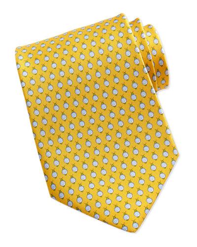 Salvatore Ferragamo Snail Pattern Silk Tie, Yellow