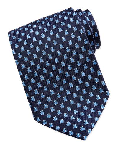 Salvatore Ferragamo Frog Pattern Silk Tie, Navy