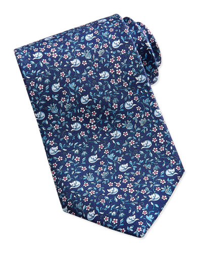 Salvatore Ferragamo Ramage Fox Pattern Silk Tie, Navy/Red