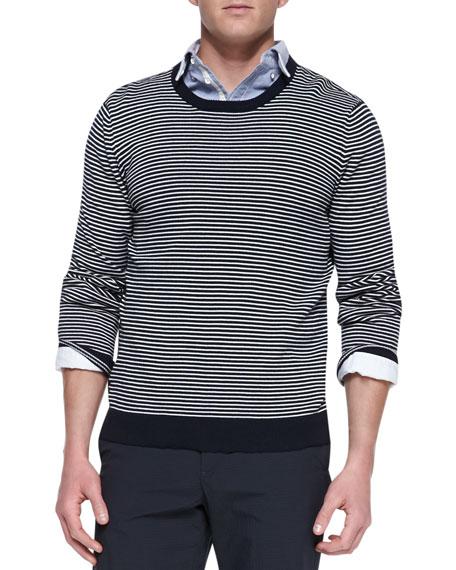 Jayden Striped Crewneck Sweater, Navy/White