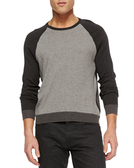Luke Colorblock Raglan Sweater, Navy/White