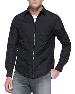 Rag & Bone Daltry Nylon Zip-Down Shirt, Black