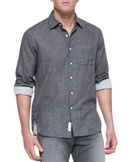 Rag & Bone Button-Down Beach Shirt, Charcoal