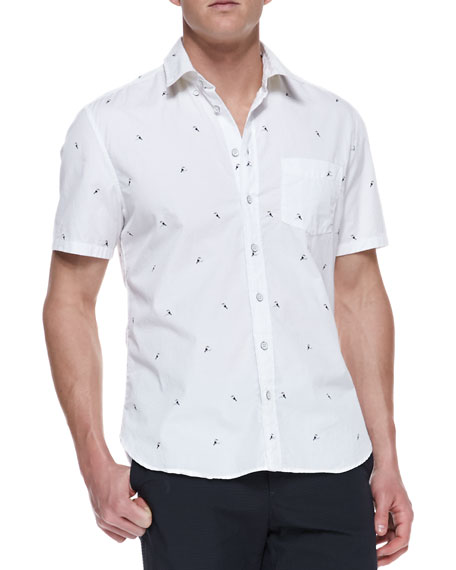 Toucan-Embroidered Oxford Shirt, White