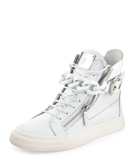 Men's Chain & Zipper Leather High-Top Sneaker, White