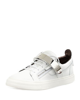 Giuseppe Zanotti Men's Zip & Buckle Low-Top Sneaker, White