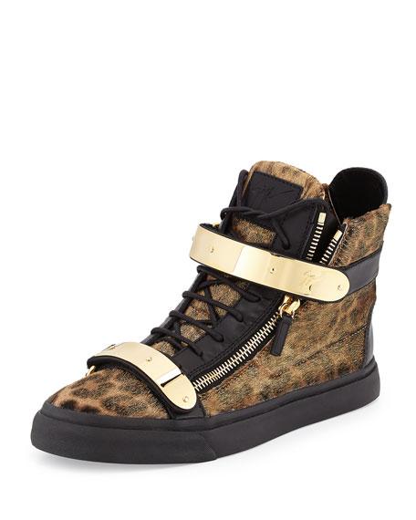 Men's Metal-Strap Leopard Calf Hair Sneaker