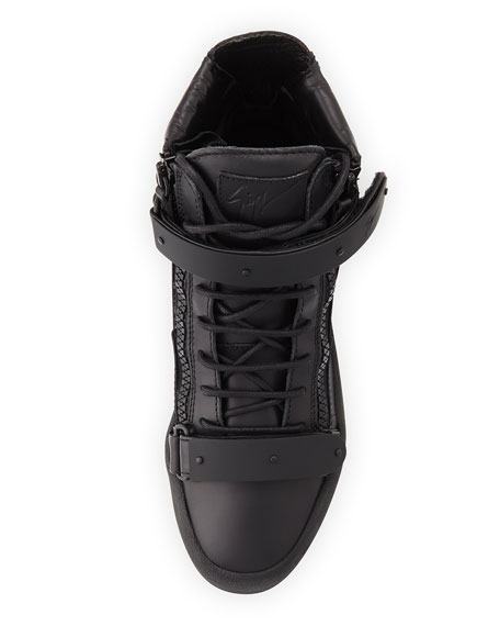 Men's Double-Strap High-top Sneaker, Black