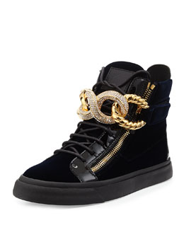 Giuseppe Zanotti Men's Crystal Chain-Front Velvet High-Top Sneaker