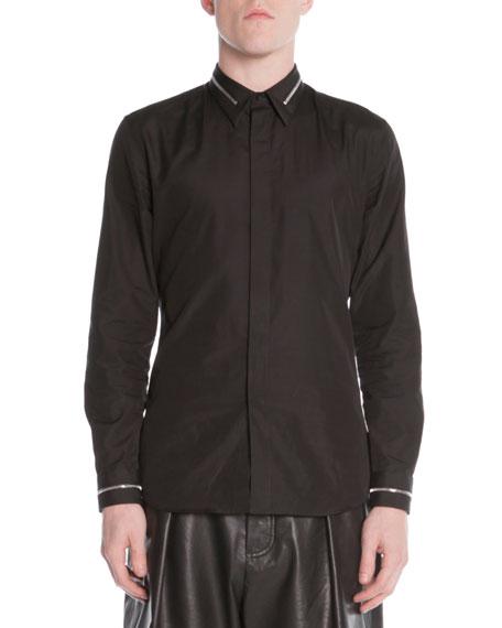 Givenchy Zip Collar Dress Shirt Black Neiman Marcus