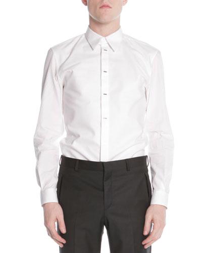 Givenchy Silver-Bar-Front Poplin Shirt, White