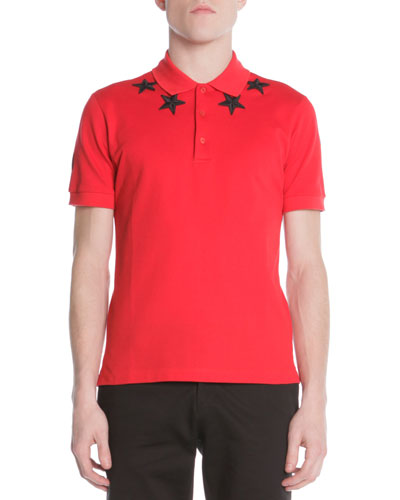 Givenchy 74 Star-Trim Polo, Red