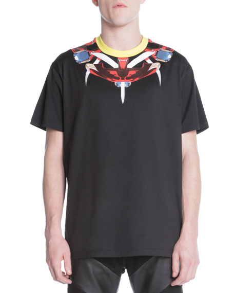 Printed-Neck Jersey Tee, Black