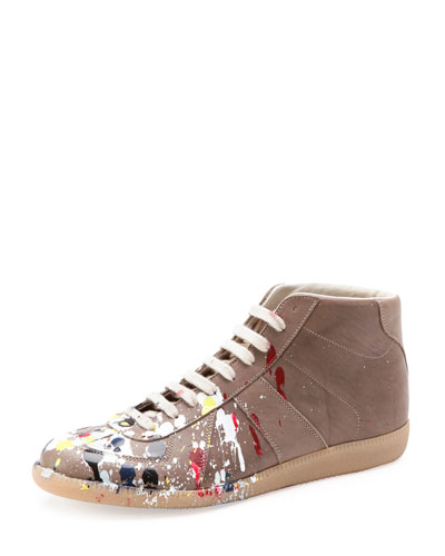 Maison Martin Margiela Pollock Mid-Top Replica Sneaker, Dark Beige