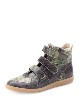 Maison Martin Margiela Three-Strap High-Top Sneaker, Green