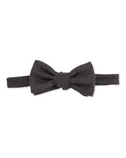 Gucci Woven Striped Bow Tie, Black/Gray