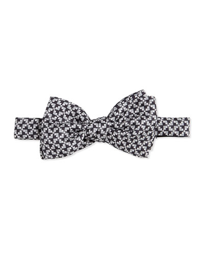 Gucci Geometric-Print Silk Bow Tie, Dark Gray
