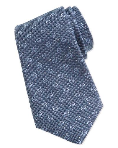 GG Print Woven Tie, Sky Blue