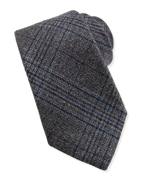 Gucci Woven Wool Plaid Tie, Black