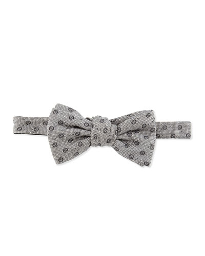 Gucci GG Woven Bow Tie, Gray