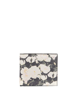 Givenchy Camo Rose Billfold Wallet, Black/White
