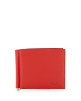 Givenchy Money Clip Leather Billfold Wallet, Red