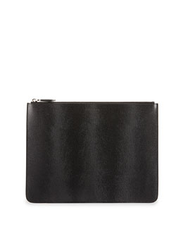 Givenchy Large Pony Hair-Embossed Leather Pouch, Black