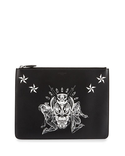 Large Skull-Print Pouch, Multi