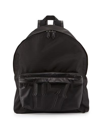 Men's Nylon & Leather 17 Backpack, Black