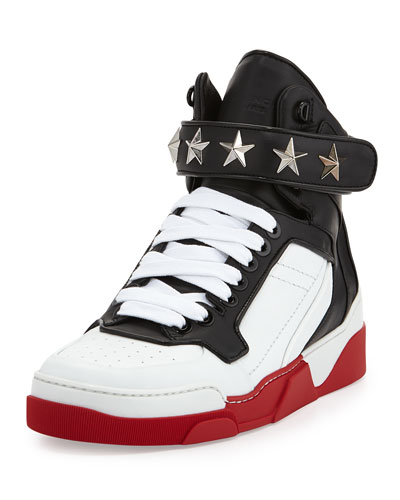 Givenchy Tyson Star Red Sole High-Top Sneaker, Black/White