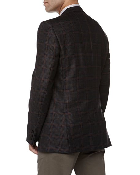 City-Fit Two-Button Plaid Jacket, Grey