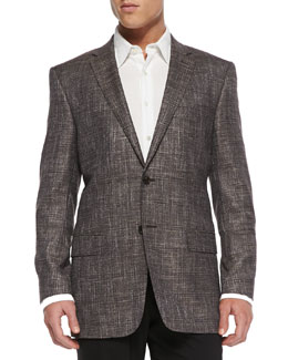 Versace City-Fit Windowpane Jacket, Tan
